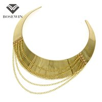 Wholesale bijoux tibet for sale - Women Punk New Chic Wide Alloy Torques Choker Necklaces fashion Fashion Gold Chain Tassel Collares Statement Jewelry Bijoux femme