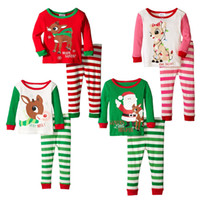 Wholesale Kids Santa Claus Pajamas - christmas stripe pajamas reindeer santa claus Sleepwear Full Sleeve Nightwear Children Christmas Clothing Kids outfits set free shipping