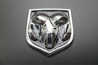 emblemas de plástico para automóveis venda por atacado-2 PÇS / LOTE ESTILO CARRO 3D ABS Emblema Logotipo Frente / Traseira Adesivos Tronco Tronco BOTÃO BONNET Emblema Sheepshead Etiqueta para Dodge car styling