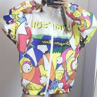 Wholesale Harajuku Zipper - Harajuku Style Graffiti Cartoon Printed Baseball Women Jacket 2017 Autumn Long-Sleeved Thin Sports Outerwear Coat Couple