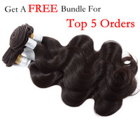 Wholesale Order Hair Color Wave - One free for top 5 orders Brazilian non-remy human hair extensions natural color body wave no tangle human hair weaves