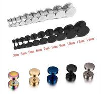 Wholesale Stainless Steel Men Earrings Blue - 10mm Black Stainless Steel Earrings Men Barbel shape Punk Goth Women Studs Blue Silver Gold-color Fashion Brand Jewelry Wholesale E110