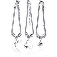 Wholesale little sister charm - Best Friends Best Sisters Big Middle Little Sis Heart Charm Braclets Silver Bracelet Bangle Cuffs for women Jewelry DROP SHIP 161587