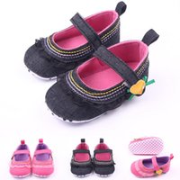 Wholesale Dress Fabric Textile - Hot Wholesales Textile Chiffon Hook & Loop Strap Casual Dress Baby Shoes First Walker baby Girl Shoes Black and Fuchsia Colors