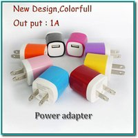 Wholesale Output Dc 5v 1a - full 1A plug adapter DC 5V output colorful home plug with 110V -250V input fit for iphone samsung htc honor smart cell phone