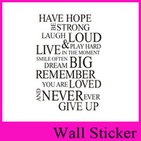 Wall Sticker 8033 Have Hope English Saying Quote Vinil Wall Art Decals Window Car Stickers Decoração para casa 2016 no atacado