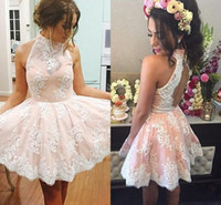 Wholesale Satin Halter Open Back Cocktail - pink Lace Short Cocktail Dresses 2016-2017 High Neck Sleeveless Appliques Lace Satin Open Back Short Prom Dresses Homecoming Dresses