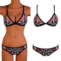 Wholesale Padded Top Bottom Swimsuit - Sexy Women's Ladies Floral Bikini Set Push Up Padded Top Hipster Bottom Swimsuit Swimwear Beachwear Bathing Suit Bathers SMLXL