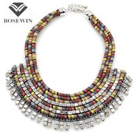 Wholesale Handmade Beads Statement - Bohemia Design Women Multilayer Rope Handmade Maxi Necklaces fashion Fashion Bead Bib Collar Chokers Statement Necklaces & Pendants