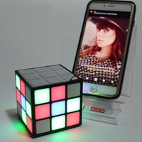 Wholesale mini bass cube for sale - Group buy Magic Cube Design Colorful LED Flash Bluetooth Mini Speaker Wireless Portable Super Bass Sound Subwoofer Handsfree for iPhone Tablet PC