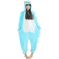 pyjama onesie großhandel-Fleece Anime Fairy Tail Glückliche Katze Onesie Kinder Cartoon Party Cosplay Kostüm Frauen Pyjama Erwachsene Blau Glückliche Katze Onesies Overall Mit Kapuze