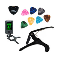 Wholesale Guitar Plectrums - Tool Kit Guitar Tuner + Capo + Plectrum Holder + 7 Celluloid Picks Tuning Capotraste Mediator Case Guitarra Parts Accessories
