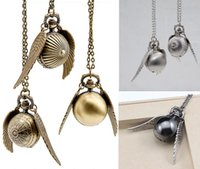 Wholesale Wholesaler Pocket Watches - Harry Potter Golden Snitch Pocket Watch Steampunk Quidditch Wings Watch harry potter wings necklace men and women movie star charm
