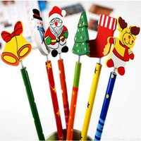 Wholesale Pencil Novelty Back - Novelty Christmas Pencil Gifts for Kids Back To School Christmas Theme Kids Cartoon Wooden Pencil with Springs Random Color