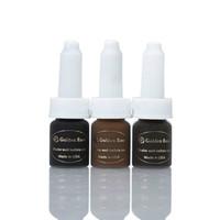 colores de tatuaje de labios permanentes al por mayor-3 piezas de color marrón oscuro oscuro café tatuaje tinta dorada rosa maquillaje permanente pigmento de tinta para cejas labio tatuaje con 12 colores para elegir