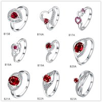 Wholesale Crossover Rings - Drop Crossover cable red gemstone 925 silver ring GTGR2,high grade sterling silver ring 10 pieces mixed style