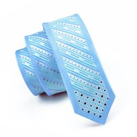 Wholesale vogue ties - Wholesale Sky Blue Original Mens Suit Ties Lnnovation Stripes Thin And Long Neckwear Vogue Narrow Tie Slim Skinny Bordering Neckties E-105
