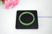 Wholesale Square Plates Bulk - Free Shipping Bulk Price Fashion Square Wooden Jade Jewelry Display Bangle Case Bracelet Holder Tray Exhibitor Plate with Black Velvet