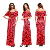 Wholesale Neck Collar Wrist - European fashion explosion style sexy wrist word collar strapless short sleeve printing high waist dress red, green support mixed batch