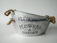 pots antiques achat en gros de-Pots de fleurs Planters d'herbes Planters rustiques avec corde Pot de pépinière galvanisé rustique antique Jardinière de succulentes ovales