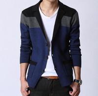Wholesale Casual Wool Blazers For Men - 2016 new hot sale Men Blazers Fashion Stitching Knitting Men Suit Slim Autumn Cotton Jacket For Men Casual cardigan