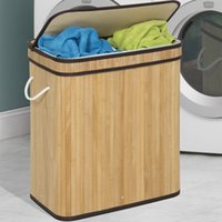 Wholesale Food Choice - Best Choice Products Bamboo Double Hamper Laundry Basket - Natural