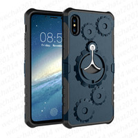 Wholesale Iphone Gear Case - 100PCS Luxury Gear PC TPU Armor Hybrid Case Cover with Stander for iPhone X 6 6s 7 8 Plus No Package