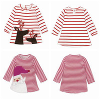 Wholesale Elk Dress - INS Girls Xmas Dresses Xmas Princess Dresses Stripe Long Sleeve Baby Skirt Christmas Party Cosplay Costume Santa Claus Elk Printing DH153