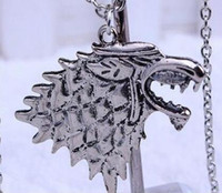 Wholesale Play Song - Stark Wolf Necklace Game of Thrones TV Play Song of Ice and Fire Pendant Jewelry NO CHAIN DHL