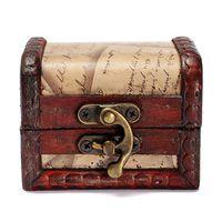 Wholesale Wooden Box Lock Wholesale - Lock Jewelry Treasure Case Handmade Wooden Storage Boxes Bins