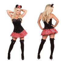Wholesale Adults Night Dresses - Wholesale-Size S-XXL 2016 New Sexy Mickey Minnie Mouse Halloween Christmas adults costume for women Cosplay Night Club wear party dress