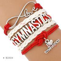 Wholesale Gymnastics Charm Bracelet - Infinity Love I Heart Gymnastics Bracelet Gymnast Gymnastics Fans Aqua Silver Women Men Lady Girl Jewelry Gift Red Custom Drop Shipping