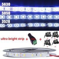 Wholesale Power Connecter - 5M 300 LED 5630 5050 3528 SMD 12V Flexible LED strip light+DC Connecter+12V 6A Power Adapter Cold Warm White Blue Red Green Yellow