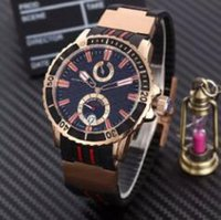 Wholesale Modern Marine - Luxury Rose Gold Stainless 45mm Marine Transparent Caseback Mens Automatic Movement Wristwatches Rubber Buckle Modern Men Mechanical Watches