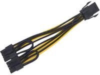 8pin adaptör kablosu toptan satış-Sıcak satış PCIe 6pin için çift 8pin (6 + 2) Y Splitter Adaptörü Bağlayıcı güç kablosu 18AWG telden yapılmış grafik kartı