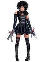 gleichmäßig kühl großhandel-Halloween Kostüme für Frauen Edward Scissorhands geheime Wünsche Sexy Fräulein Cosplay Cooles Kostüm aus Schulter Schwarz Kleid Terror Bühne Uniform