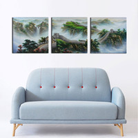 3 Pcs / Set Classic Chinese Landscape Painting La Grande Muraille Modern Oil Painting Wall Pictures for Living Room