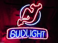 Wholesale Rare Beer Sign - Rare BUD LIGHT NEW JERSEY DEVILS Hockey NHL Beer Bar Neon Light Sign