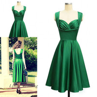 fotos de cóctel vintage al por mayor-Vintage 1950 Elegance Emerald Green Cocktail Dress Alta calidad Real Photo Tea Length Short Party Prom y vestido de regreso a casa