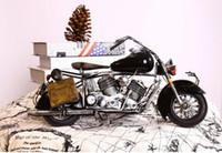café da motocicleta venda por atacado-Criativo zakka artesanato artesanato artesanal clássico retro motocicleta motorbicycle modelo de ferro de metal bar café decoração da sua casa