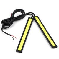 gelbe led-lichtleiste großhandel-2 X 12 V Super Helle Weiße 6 Watt COB LED Tagfahrlicht Tagfahrlicht Lampe Aluminium Chip Bar Panel