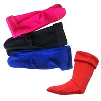 Wholesale Cuffed Boots - High Knitted Chunky Cable Cuff Fleece Welly Socks Socks For Rain Boots free shipping in stock