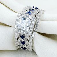 mavi taş gümüş yüzük toptan satış-2.2 Ct 3 Adet Katı 925 Ayar Gümüş Halo Alyans Setleri Prenses Kesim CZ Mavi Yan Taş Kadınlar Için Klasik Takı