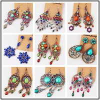 Wholesale Vintage Chandelier Crystals - Mixed 200 Styles Women vintage Hoop Earrings chandeliers big crystal Stones gold Silver Pink Fashion gemstone earrings for women wholesale