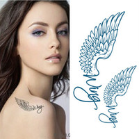Wholesale Tattoos Eagles Designs - Sexy Letter Eagle Wings Design Temporary Tattoo Sticker Body Art Fake Tattoo Waterproof Tattoo Sticker for Women
