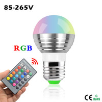 Wholesale Magic Lighting Remote Control - Smart Bulbs E27 E14 LED RGB Bulb lamp 220V 3W LED RGB Spot light dimmable magic Holiday RGB lighting+IR Remote Control 16 colors