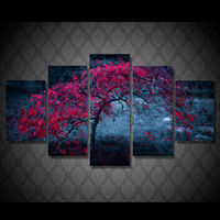 Wholesale Oil Painting Autumn - 5 Pcs Set Framed Printed tree leaves purple autumn Painting Canvas Print room decor print poster picture canvas Free shipping ny-4924