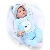 Wholesale Boys Baby Doll Clothing - Soft Vinyl Lifelike Reborn Baby Boy Doll 22 inch Silicone Reborn Dolls Blue Eyes Doll in Light Blue Doll Clothes