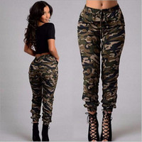 Wholesale Woman Fashion Camouflage Pants - New summer Camouflage Womens Pants Women Military Fashion Printing Sports Outdoor Loose Casual Pants Climbing Training Pant