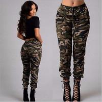 calças militares soltas venda por atacado-Novo verão Camuflagem Das Mulheres Calças Mulheres Moda Militar Impressão de Esportes Ao Ar Livre Solto Calças Casuais Treino de Escalada Pant